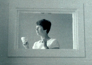 My mother drinking tea in her home in the 1960's in Dublin